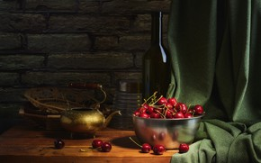 Picture cherry, berries, the dark background, table, wall, bottle, food, kettle, dishes, fabric, bricks, bowl, still …