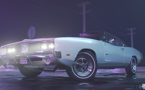 Picture Auto, Night, Machine, Light, Style, 1969, Lights, Car, Render, Neon, Dodge Charger, Rendering, The front, …