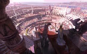 Picture fantasy, people, crowd, Arena, digital art, artwork, fantasy art, illustration, statues, scepter, emperor