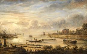 Picture oil, picture, Art van der NEER, Aert van der Neer, River view at Dawn