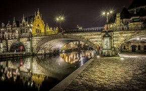Picture night, bridge, lights, river, home, lights, channel, Belgium, Bruges