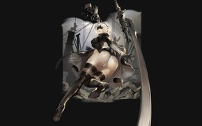 Picture girl, sword, art, Nier Automata, by claparo