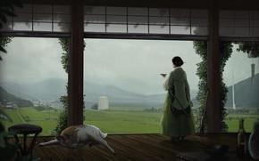 Picture Girl, Japan, House, Rain, Girl, House, Japan, Landscape, Rain, Samurai, Animal, Katana, Animal, Deer, Andreas …