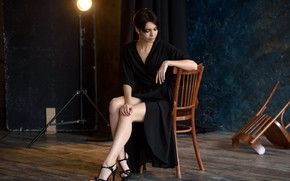 Picture sexy, pose, model, lamp, chairs, portrait, makeup, figure, dress, brunette, hairstyle, shoes, legs, beauty, sitting, …