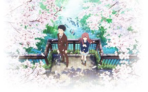 Picture flowers, bridge, spring, Anime, 2016, You no Katachi, A Silent Voice, Form Voice