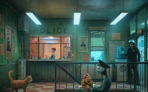 Picture Humor, Police, Cat, Style, Mask, Art, Art, Police, Style, Cat, COP, Donuts, Room, The room, …