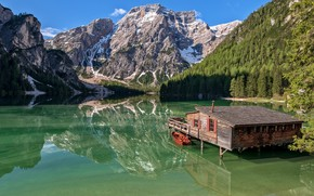 Wallpaper Italy, South Tyrol, South Tyrol, house, lake, The Dolomites, Italy, mountains, Dolomites, reflection, boat