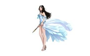 Picture Girl, Art, Asian, Style, Background, Illustration, Minimalism, Dress, Figure, Character, Pretty Woman, Hotduck Yoon, Clan …