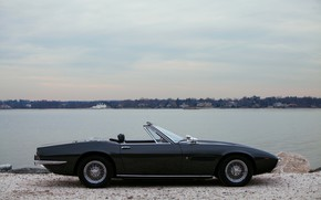 Picture black, Maserati, 1969, Roadster, side view, spider, Ghibli Spider