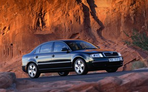 Picture rock, black, sedan, Skoda, 2001, Skoda, four-door, Superb