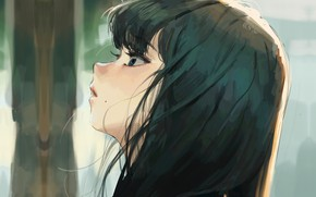 Picture eyelashes, girl, mole, bangs, in profile, looking up, dark hair