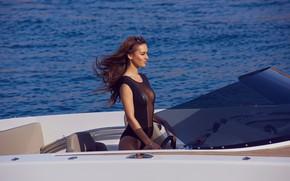 Picture sea, water, girl, the wind, yacht, beautiful, Veronika Klimovits