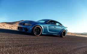Picture Road, Asphalt, Dodge, Drives, Charger, Hellcat, SRT, 2020, Dodge Charger SRT, Hellcat widebody