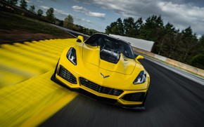 Wallpaper Corvette, Chevrolet, ZR1, Race, Yellow