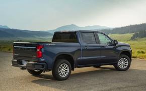 Picture Chevrolet, Parking, pickup, Silverado, dark blue, 2019, RST