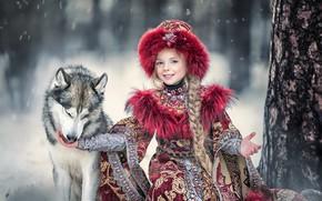 Wallpaper nature, background, dog, girl
