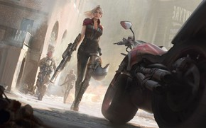 Picture look, girl, weapons, fiction, art, costume, sci-fi