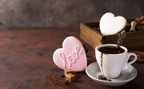 Picture coffee, cookies, Cup, hearts, glaze, Myfoodie