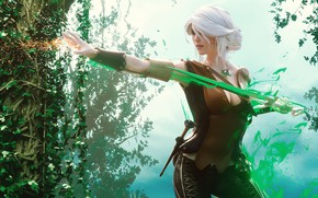Wallpaper forest, look, girl, magic, Weapons