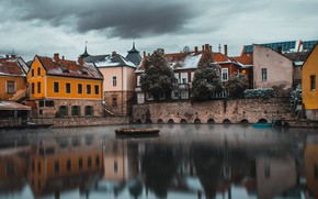 Picture snow, the city, lake, reflection, home, cloud, Hungary, Tapolca, Tapolca
