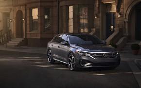 Picture street, Volkswagen, sedan, Passat, 2020, 2019, dark gray, US Version
