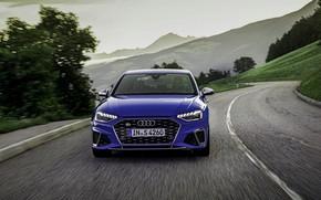 Picture blue, Audi, sedan, front, Audi A4, Audi S4, 2019