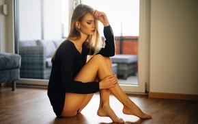 Picture girl, pose, room, hair, figure, legs, beautiful, jacket, on the floor