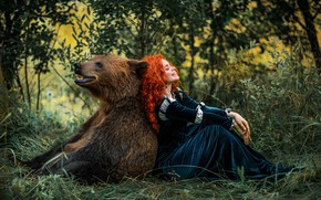 Picture girl, pose, smile, dress, bear, red, friends, curls, redhead, Александра Савенкова, Лолита Сахарова