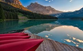 Picture forest, landscape, mountains, nature, lake, reflection, boats, pier, slope, Canada, Banff, Banff national Park, Minnewanka, …