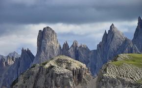 Picture the sky, clouds, mountains, nature, rocks, Italy, Dolomites, Cadini di Misurina