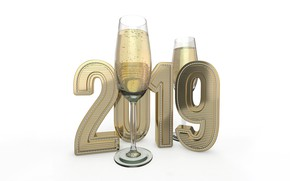 Picture bubbles, holiday, glasses, Christmas, white background, New year, champagne, 3D Graphics, 2019