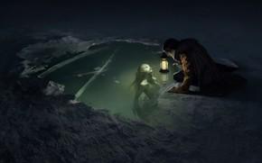 Picture light, ice, fantasy, night, lake, snow, man, digital art, artwork, concept art, mermaid, lantern, Creature, …