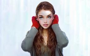 Picture Girl, Look, Lips, Face, Girl, Eyes, Portrait, Art, Portrait, Iraqi Nadar, Mittens, Mittens, by Irakli …