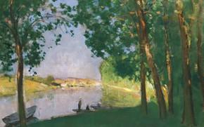 Picture landscape, boat, picture, 1910, Pierre Eugène Montesin, Pierre-Eugene Montezin, Sea-sur-Loing. The River