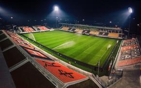 Wallpaper Field, Football, Top, Stadium, Lawn, Ural, Floodlight, Urals, Bumblebees, Orange and black, Yekaterinburg Arena, FC ...
