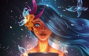 Picture joy, surprise, long hair, long hair, petals, fantasy girl, девушка весна, удивительна красива, нивность, светлый …