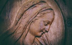 Picture face, Maria, wood, religion, faith, woodcarving, input range, Saint-Blaise, wooden sculptures, Church door