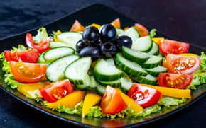 Picture pepper, vegetables, tomatoes, cucumbers, salad, olives
