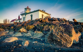 Picture landscape, nature, stones, lighthouse, Seattle, USA, Discovery Park
