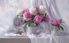 Picture flowers, Cup, still life, peonies, fabric, pitchers, drape, Valentina Fencing