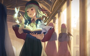 Picture butterfly, corridor, book, spell, green hair, takes, witch, a magical artifact, the Cape, bat wings