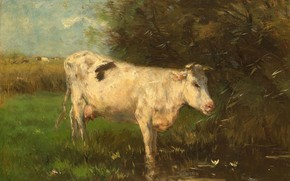 Picture animals, oil, picture, 1910, Willem Maris, Willem Maris, White cow