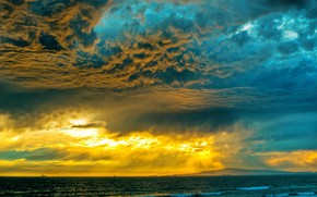 Picture sea, the sky, sunset, clouds, photo