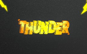 Picture text, lightning, The storm, lighting, beautiful text, the text with the background, THUNDER, 3D text