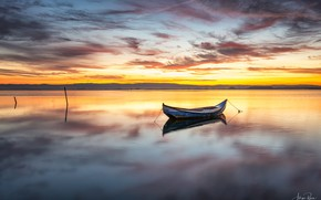 Picture the sky, sunset, shore, boat, Bay, Portugal, Torreira