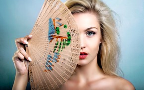 Picture look, pose, background, model, hand, portrait, makeup, fan, hairstyle, blonde, bare shoulders, covering her face, …