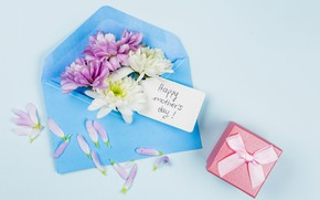 Picture flowers, background, holiday, gift, blue, the envelope, composition, Mother's Day