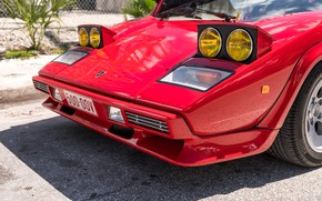 Picture Red, Bumper, The hood, Lights, Before, Lamborghini Countach