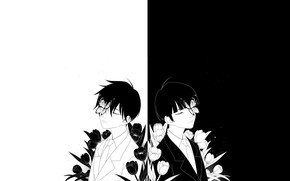 Picture flowers, minimalism, guys, brothers, black and white, Mob Psycho 100, Mob psycho 100