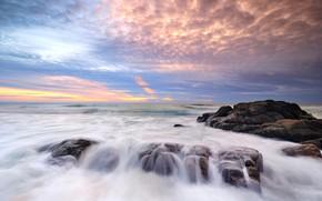 Picture sand, sea, wave, beach, summer, the sky, sunset, stones, shore, summer, beach, sea, sunset, blue, …